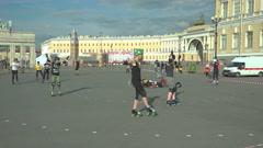 Athletes on roller skates train on Palace square. Saint-Petersburg. 4K. Stock Footage