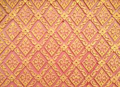 Abstract golden-red lai-thai style square-sameless pattern art Stock Photos