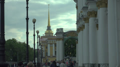 The main Admiralty in Saint-Petersburg 4K. Stock Footage
