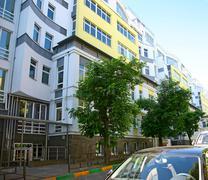 New building in the center of historical part of nizhny novgorod Stock Photos