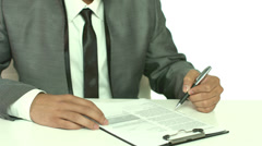 4K & HD resolutions - indian businessman signs the contract, wiew without face Stock Footage