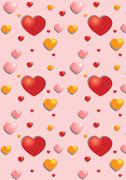 Gentle hearts on the pink seamless background - stock illustration