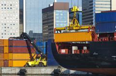 maritime activity at the Port of Genoa,Italy - stock photo
