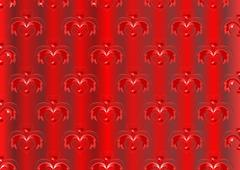 Red satin striped background with oriental ornaments Stock Illustration