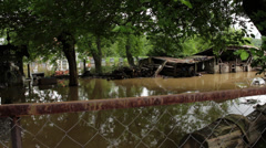 Flood river destroyed home.Water flowing through the yard.Environmental disaster Stock Footage