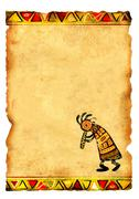 Old parchment with African traditional patterns Stock Illustration