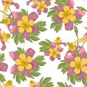 Elegance Seamless flowers background - stock illustration