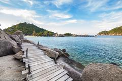 Stock Photo of boardwalk on the split rock to the beach