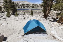 High sierra lake back country tent camp site Stock Photos