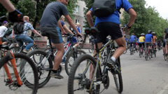 Day of bicycle. Huge group of people are riding a bicycle Stock Footage