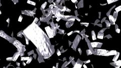 Silver tickets falling leaf money win tokens Stock Footage