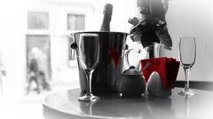 Champagne in bucket waiting for love Couple with fast walking people Stock Footage