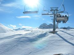 Chairlift in the alps - stock photo
