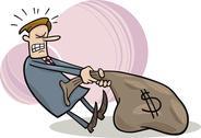 Businessman draging sack of dollars Stock Illustration