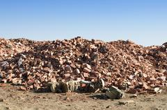 Landfill for disposal of construction waste - stock photo