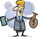 Businessman with tablet and sack of dollars Stock Illustration