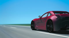 Red Sports Car (from behind) Stock Footage