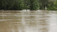 Muddy river flowing and flooding forest after big storm. Waves swaying trees. - stock footage