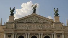 Ukraine, Lviv Theater of Opera . Timelapse. May 28, 2014 Stock Footage