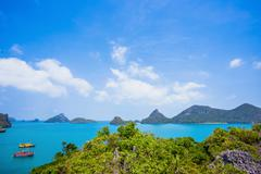 View from mountain on Angthong Marine National Park Stock Photos