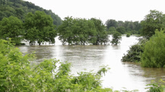 River flooded agricultural fields after storm. Agriculture. Beautiful landscape. Stock Footage