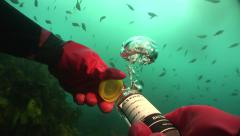 Diver underwater takes a water sample near raw sewage outlet #11-4 Stock Footage