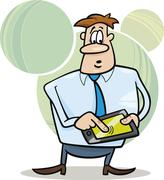 businessman with tablet - stock illustration