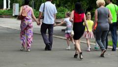 RUSSIA, OREL - 31 MAY 2014: Big family is walking in the park Stock Footage
