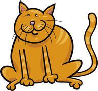 Yellow cat - stock illustration