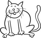 Funny cat coloring page Stock Illustration