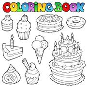 Coloring book various cakes  - stock illustration