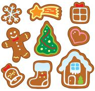 Christmas gingerbread collection  - stock illustration