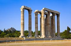 Temple of Zeus and Lycabettus hill at Athens - stock photo