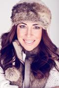 Beautiful Winter Woman In Subtle Make-up Stock Photos