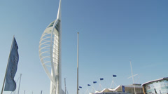 Flags in wind & Spinnaker tower Stock Footage