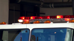 Active emergency lights of the firetruck. Stock Footage