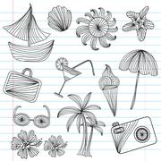 Set of principal vacation and summer season icons, design elements. Stock Illustration