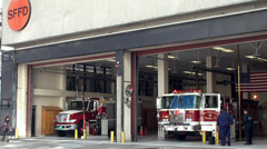 Fire truck on the service at the fire department. Stock Footage