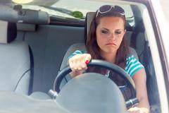Woman and broken car Stock Photos