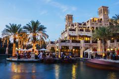 night view of madinat jumeirah hotel - stock photo