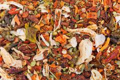 Many different spice background blend. food texture Stock Photos