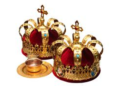 Two Orthodox Wedding Ceremonial Crowns Ready for Ceremony Stock Photos