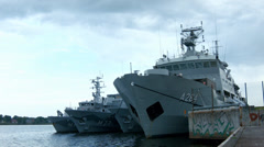 Navy ships in Riga port, Latvia Stock Footage