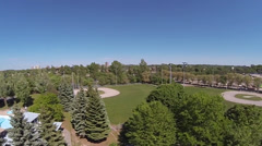 Smooth Aerial of Baseball Diamonds on Beautiful Summer Day Stock Footage