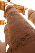 great hypostyle hall with giant lotus columns - stock photo
