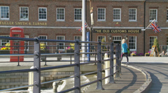 English pub & telephone box in Portsmouth Stock Footage