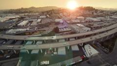 San Francisco Aerial on the Highway at Sunset Stock Footage