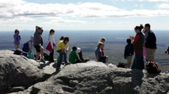 School group visiting Mount Monadnock - stock footage