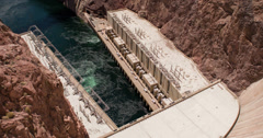 Bottom of Hoover Dam generators 4k Stock Footage