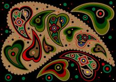 Colored paisley on a black background. Stock Illustration